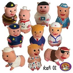10 Little Piggies Latex Sqeak Toys 10 Different Styles 10 Pa