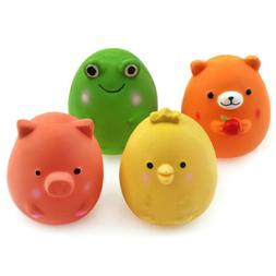 Chiwava 4PCS 2.4'' Squeak Latex Puppy Toy Funny Animal Sets