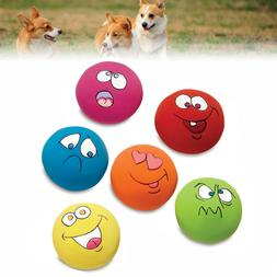 6 PC Unisex Latex Dog Puppy Play Squeaky Ball With Face Fetc