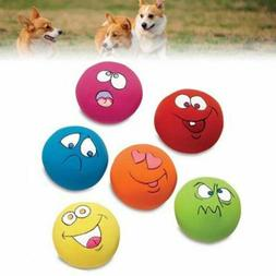 6 X ZANIES LATEX DOG PUPPY PLAY SQUEAKY BALL WITH FACE FETCH