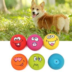 6PCS Uniex Latex Dog Puppy Pet Play Squeaky Ball With Face F