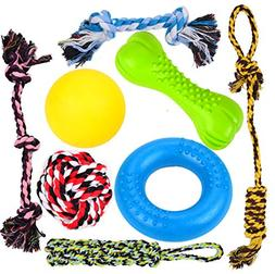 Youngever 8 Durable Dog Chew Toys - Puppy Toys - Value Pack