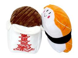 ZippyPaws Dog Toys Sushi and Takeout With Squeakers