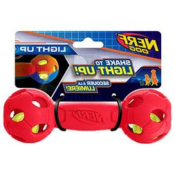 Nerf Dog 7in LED Bash Barbell - Red, Dog Toy
