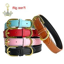PET ARTIST Brown Classic Soft Padded Leather Dog Collar for