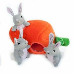 ZippyPaws Burrow Squeaky Hide and Seek Plush Dog Toy, Bunny