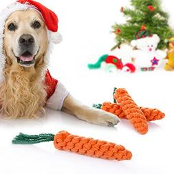 Keklle 3 Pack Carrot Puppy Dog Chew Toys Cotton Rope Dental