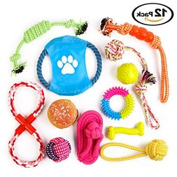 Complete 12 Pack of Dog Toys. Big Set Includes Chew, Rope, D