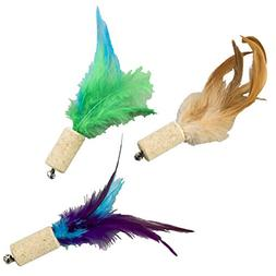 """Ethical Pets Cork with Feathers Bernet Cat Toy, 5"""", Assorted"""