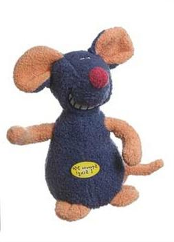 Multipet Deedle Dude 8-Inch Singing Mouse Plush Dog Toy, Blu