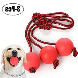 Legendog Dog Ball, 3 Pack Rubber Dog Balls with Rope Dog Toy
