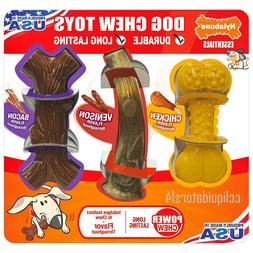 Nylabone Dog Chew 3 Pk Toy Power Chews flvrs Chicken Venison