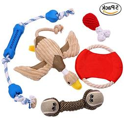 Mazort Dog Chew Toys 5 Pack Gift Set by Durable Rope Ball Te
