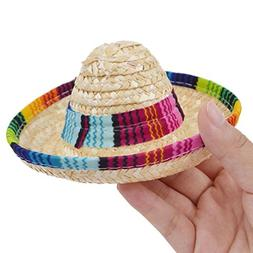 YJYdada Dog Hat, Multicolor Dog Cat Mexican Straw Sombrero H