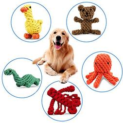 PEHOST Dog Rope Toys Animal Design Cotton Rope Dog Toys for