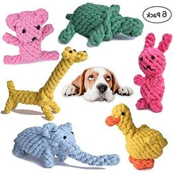 Dog Rope Toys Cute Animals Design, Cotton Puppy Toys for Sma