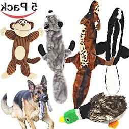 Jalousie 5 Pack Dog Squeaky Toys Three no Stuffing Toy and T