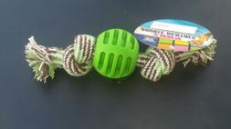 """Dog Toy  6"""" length rubber ball tug  small. Braid Rope Toy"""