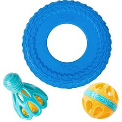 Kurgo Dog Toy Set by Happa Style - Nerf Dog Tire Tread Flyer