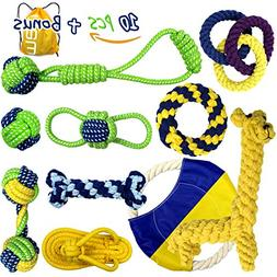 Nesoul Dog Toys, Animal Design Cotton Rope Toys with Rubber