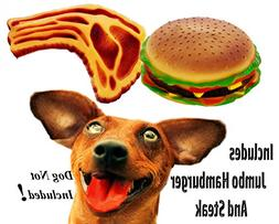 Make Your Dogs Day! Jumbo Cheeseburger and Steak Toys