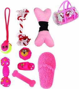 8 Piece Duffle Bag Pet Toy Set, One Size, Pink