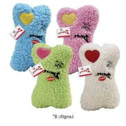 Embroidered Heart Berber Bones Dog Toys Soft Bone Squeakers