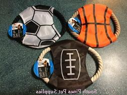 Flying Sports Disc Dog Rope Toy - soccer, football, basketba