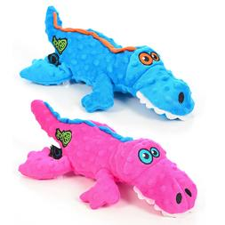 GoDog Gator Plush and Tough Dog Toy Chew Guard Durable Soft