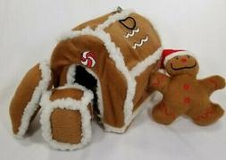 Kyjen Gingerbread House Hide a Toy Puzzle Plush dog Squeaker