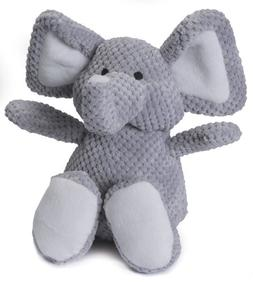 GoDog Checkered Plush Elephant Dog Toy with Chew Guard