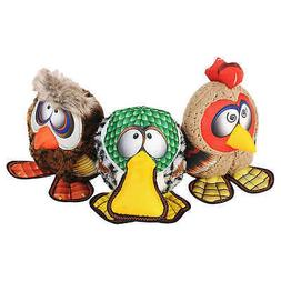 Happy Tails Barnyard Buddies Dog Toy 3-Pack, Owl, Rooster &
