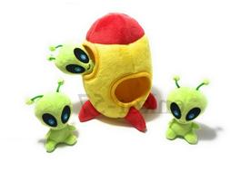 Hide and seek squeaky plush dog cat toy aliens spaceship bur