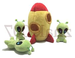 Interactive hide and seek squeaky plush dog toy alien spaces