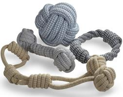 Knitted Dog Rope Toy Braided Cotton Chew Teething Tug-Pull F