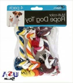 Knotted Rope Toy - Set of 4 - Multi-Color - dog puppy chew t