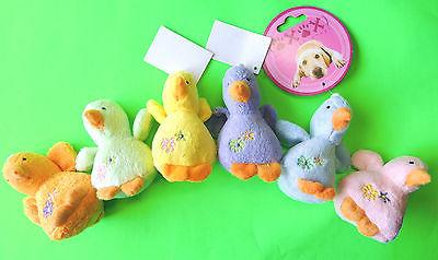 "~4"" Soft Plush Adorable BABY DUCK SQUEAK SMALL DOG TOY Play"