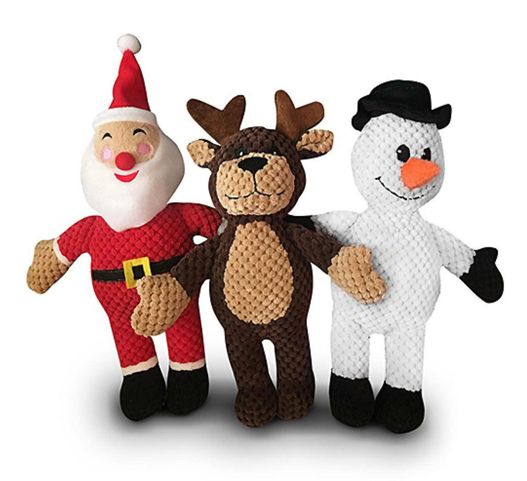 3-Pack Holiday Puppy Squeaker Sound Pet Plush Chew Squeaky