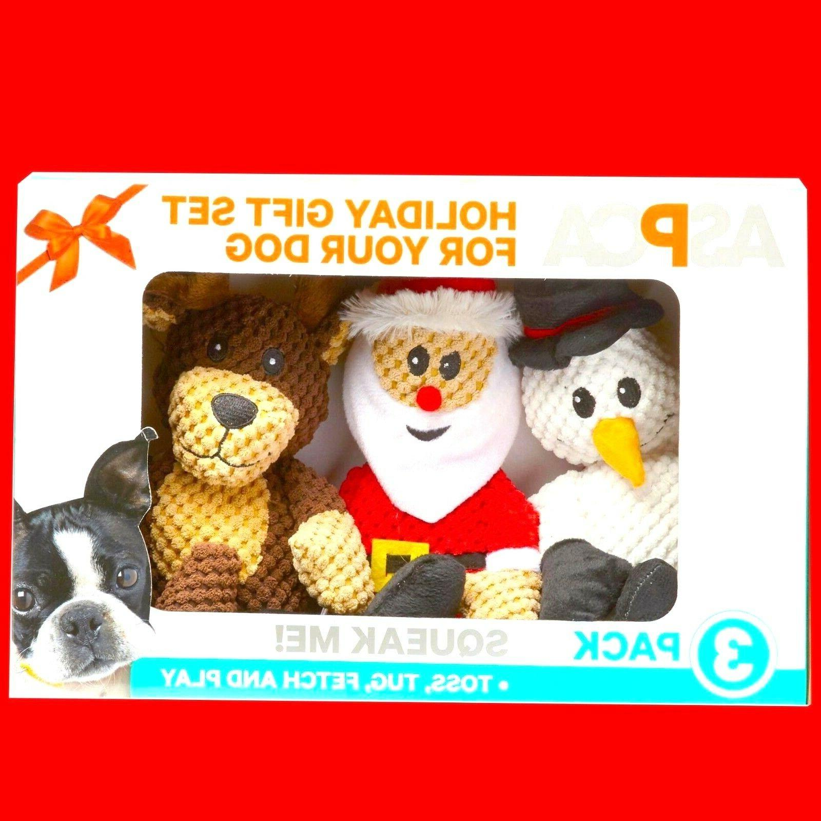 3 pack holiday dog puppy squeaker sound