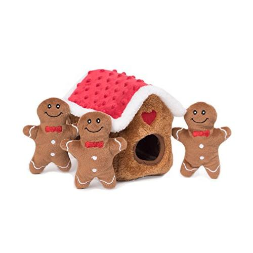 ZippyPaws - Interactive Squeaky Seek Plush - Gingerbread House