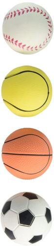 Boss Pet Rubber Sports Ball 4 Pack