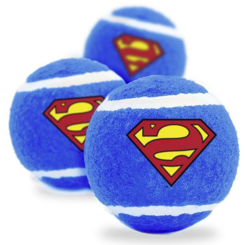 Buckle Down Dog Toy Squeaky Tennis Ball 3-PACK - Superman Sh
