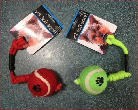 Dog Rope Toy with Tennis Ball - Red or Green - Fetch - Puppy