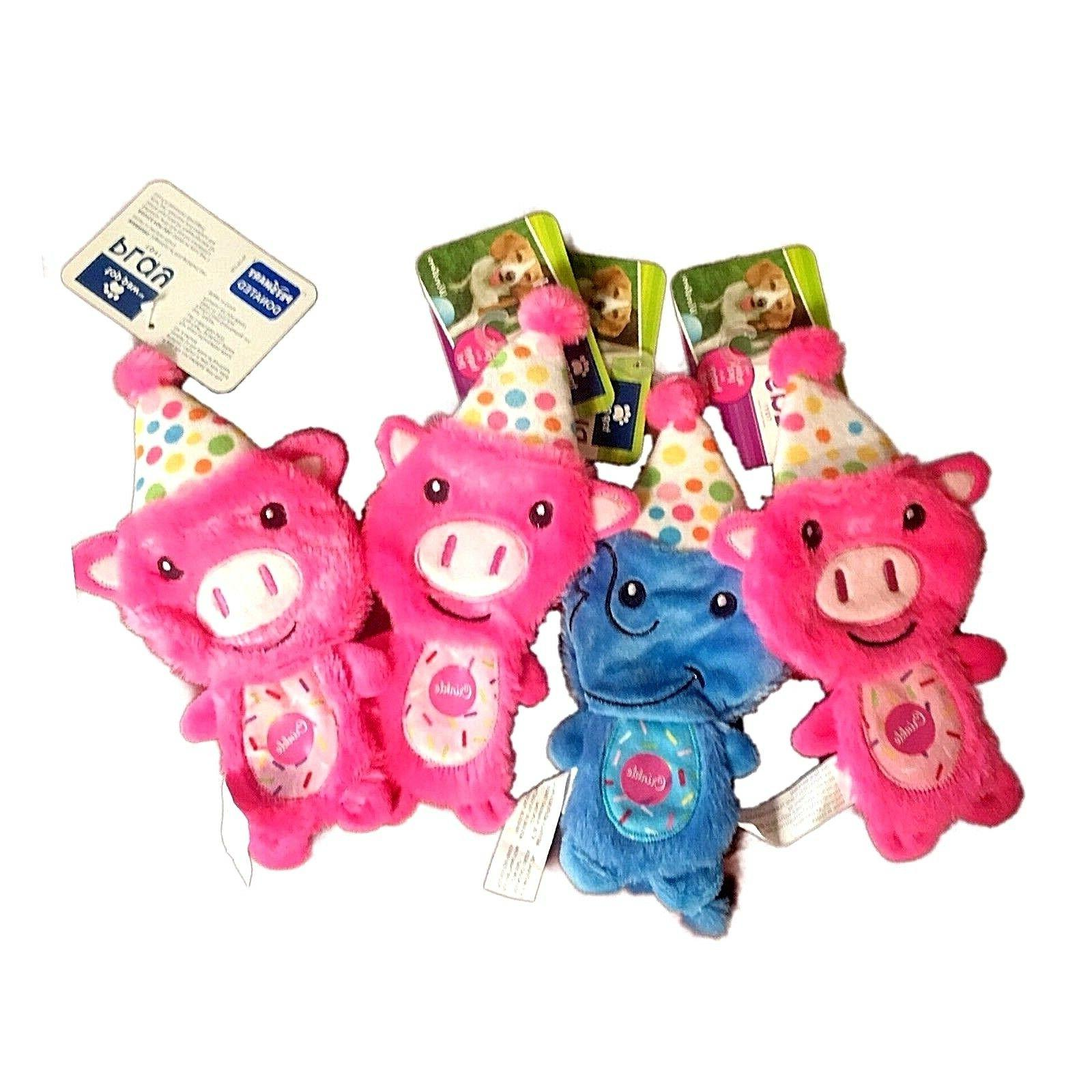 TOP PAW Flattie Crinkle Dog Toy BIRTHDAY Pink PIG Blue ELEPH