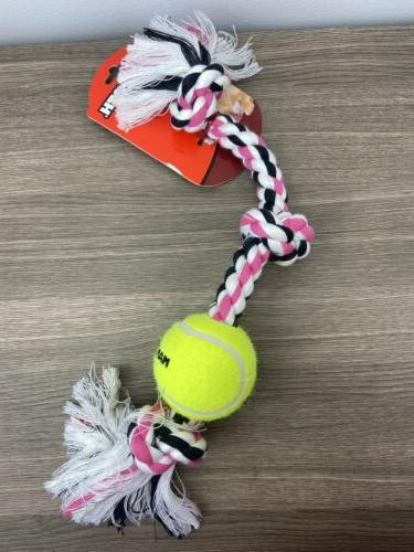 Flossy Chews Color 3-Knot Tug with 1 3-Inch Tennis Ball, Med