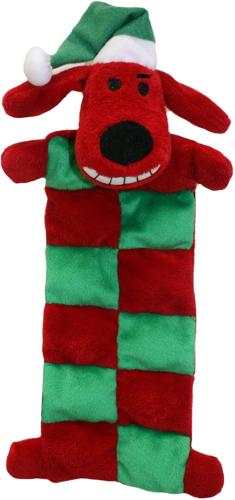 Multipet Loofa Holiday Squeaker Mat Dog Toy with Santa Hat,