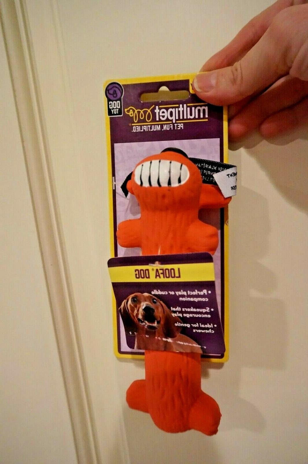 """NWT MULTIPET DOG TOY LOOFA LATEX PUFF DOG 6"""" WITH SQUEAKER"""