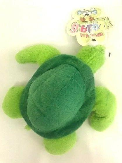 Plush Pack Turtle Dog Toy by Grriggles GREEN Squeaker - Appr