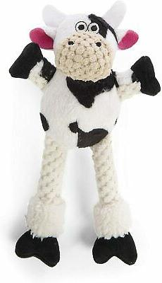 "Godog Sherpa 8"" Skinny checkers Cow With Chew Guard Dog Toy"
