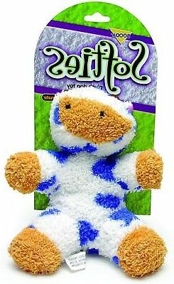 Petmate Softies Cow Toy for Dog Medium Terry Cloth Blue Whit